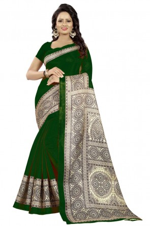 Ultimate Green Cotton Printed Saree