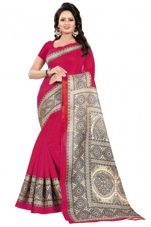 Excellent Pink Cotton Party Wear Printed Saree
