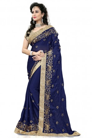 Charming Blue Georgette Party Wear Printed Saree