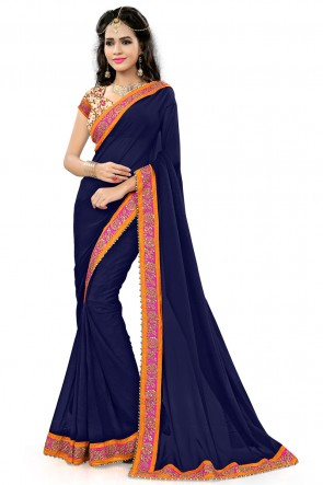 Stylish Blue Georgette Party Wear Printed Saree