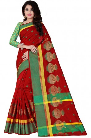 Beautiful Green and Red Pollycotton Printed Saree