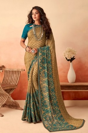 Beige Chiffon Fabric Printed Designer Saree With Silk Blouse