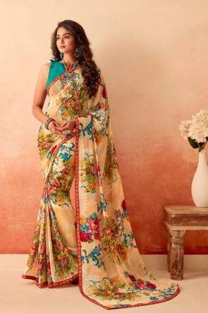 Optimum Printed Multicolor Chiffon Fabric Designer Saree With Silk Blouse