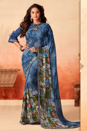Optimum Printed Blue Chiffon Fabric Designer Saree With Silk Blouse