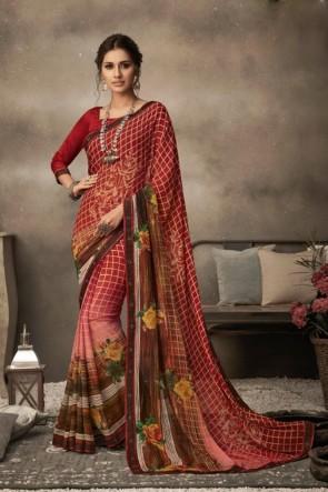 Printed Chikoo Chiffon Fabric Saree And Blouse
