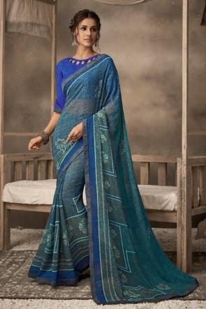 Blue Chiffon Fabric Printed Designer Saree And Blouse