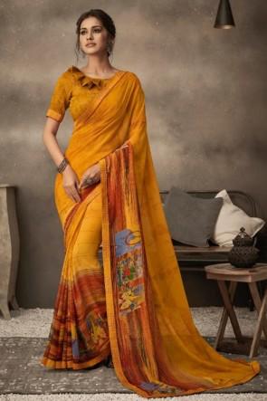 Stunning Yellow Chiffon Fabric Designer Printed Saree And Blouse