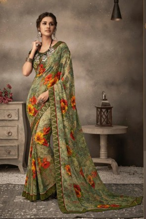Chiffon Fabric Printed Designer Green Lovely Saree And Blouse