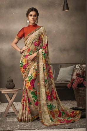 Chiffon Fabric Multi Color Printed Designer Saree And Blouse