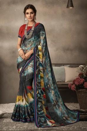 Optimum Printed Multi Color Chiffon Fabric Designer Saree And Blouse
