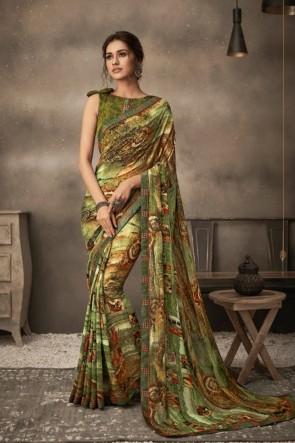 Printed Multi Color Chiffon Fabric Saree And Blouse