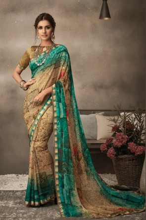 Beige Chiffon Fabric Printed Designer Saree And Blouse