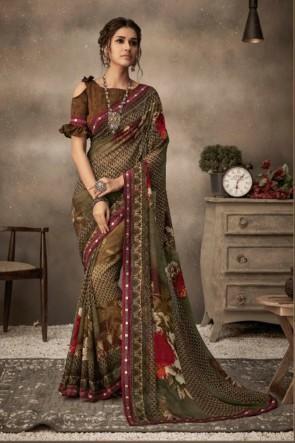 Stunning Multi Color Chiffon Fabric Designer Printed Saree And Blouse