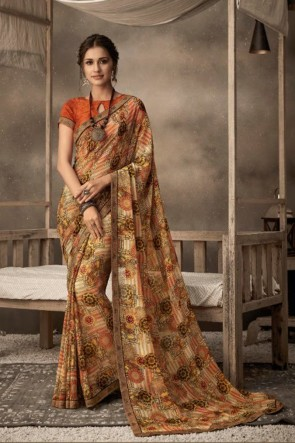 Chiffon Fabric Printed Designer Multi Color Lovely Saree And Blouse