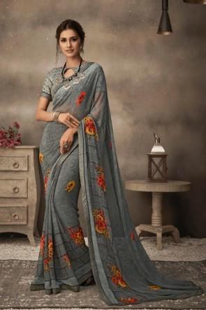 Printed Grey Chiffon Fabric Saree And Blouse