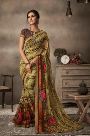 Multi Color Chiffon Fabric Printed Designer Saree And Blouse