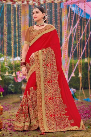 Red Silk And Satin Fabric Weaving Work And Embroidered Designer Saree And Blouse