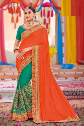 Weaving Work And Embroidered Orange And Sea Green Silk And Satin Fabric Saree And Blouse