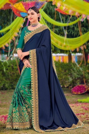 Silk And Satin Fabric Weaving Work And Embroidered Designer Navy Blue And Sea green Lovely Saree And Blouse