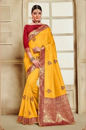 Yellow Silk Fabric Weaving Work And Jacquard Work Saree And Blouse