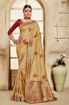 Silk Fabric Golden Weaving Work And Jacquard Work Saree And Blouse