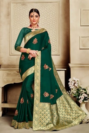 Weaving Work And Jacquard Work Designer Green Silk Fabric Saree And Blouse