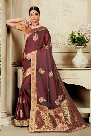Coffee Silk Fabric Weaving Work And Jacquard Work Saree And Blouse