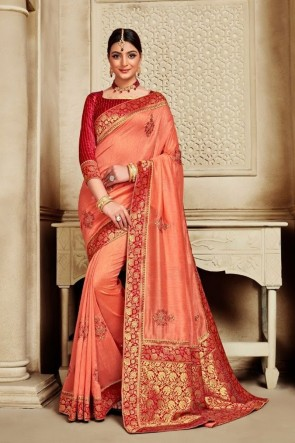 Stunning Peach Silk Fabric Weaving Work And Jacquard Work Saree And Blouse