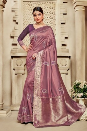 Silk Fabric Weaving Work And Jacquard Work Wine Lovely Saree And Blouse
