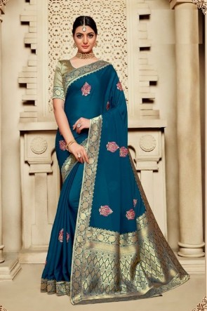 Silk Fabric Blue Weaving Work And Jacquard Work Saree And Blouse