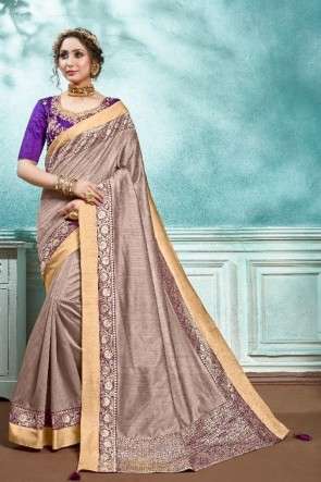 Silk And Cotton Fabric Wine Zari Work And Embroidered Designer Saree And Blouse