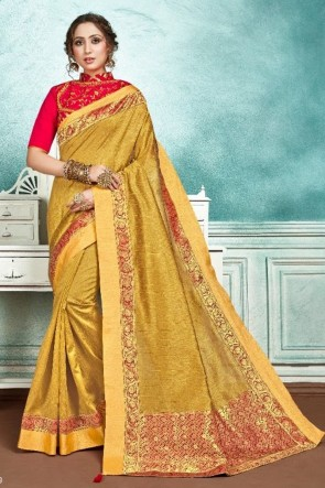 Stunning Golden Silk And Cotton Fabric Designer Zari Work And Embroidered Saree And Blouse