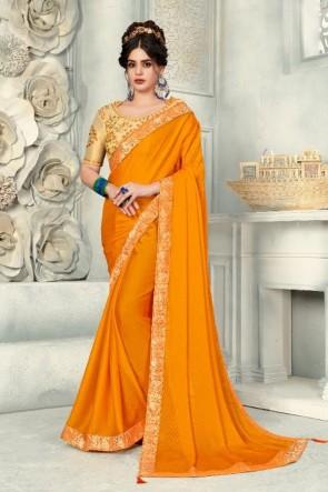 Stunning Yellow Chiffon Fabric Designer Zari Work And Border Work Saree And Blouse