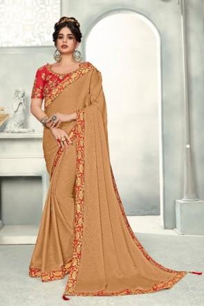 Chiffon Fabric Zari Work And Border Work Designer Cream Lovely Saree And Blouse