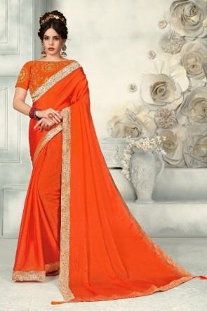Chiffon Fabric Zari Work And Border Work Orange Designer Saree And Blouse