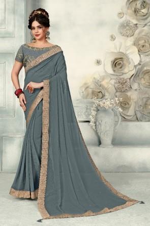 Optimum Zari Work And Border Work Grey Chiffon Fabric Designer Saree And Blouse