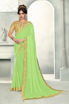 Chiffon Fabric Light Green Zari Work And Border Work Designer Saree And Blouse