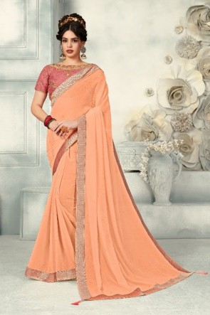 Peach Chiffon Fabric Zari Work And Border Work Designer Saree And Blouse