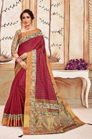 Printed Maroon Silk Fabric Saree With Silk Blouse