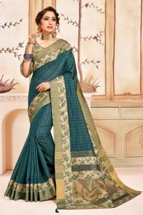 Teal Silk Fabric Printed Designer Saree And Blouse