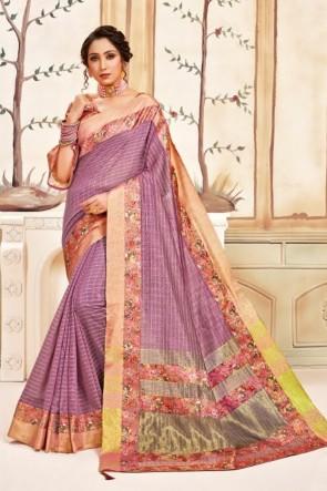 Stunning Wine Silk Fabric Designer Printed Work Saree And Blouse