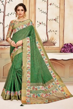Silk Fabric Printed Designer Green Lovely Saree And Blouse