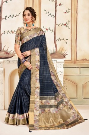 Georgette Fabric Charcoal Printed Designer Saree With Silk Blouse