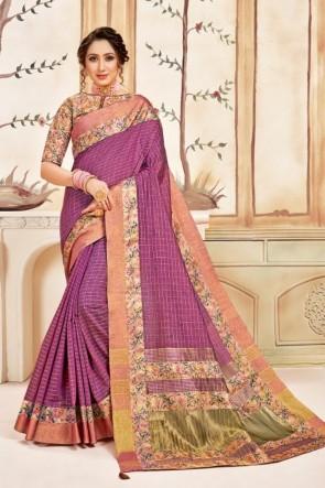 Printed Wine Silk Fabric Saree With Silk Blouse