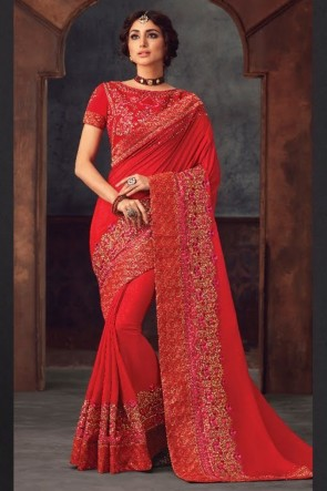 Red Silk Fabric Stone Work and Embroidered Designer Saree And Blouse