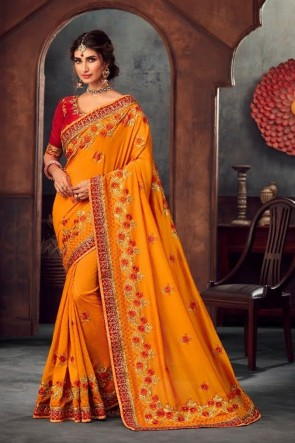 Optimum Stone Work and Embroidered Yellow Silk Fabric Designer Saree And Blouse