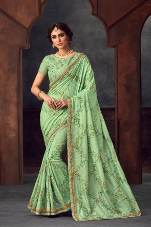 Stunning Pista Silk Fabric Designer Stone Work and Embroidered Saree And Blouse