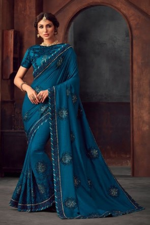 Silk Fabric Blue Stone Work and Embroidered Designer Saree And Blouse