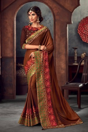 Stone Work and Embroidered Coffee Silk Fabric Saree And Blouse