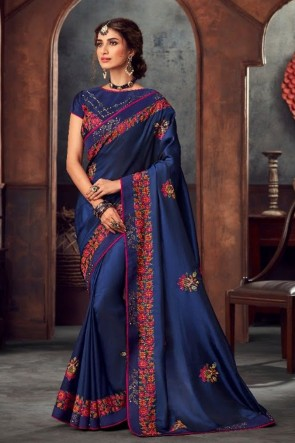 Navy Blue Silk Stone Work and Embroidered Designer Saree And Blouse